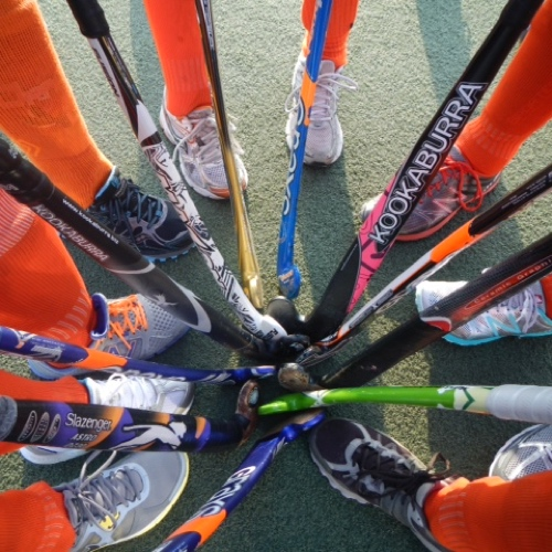 Jokers field hockey huddle